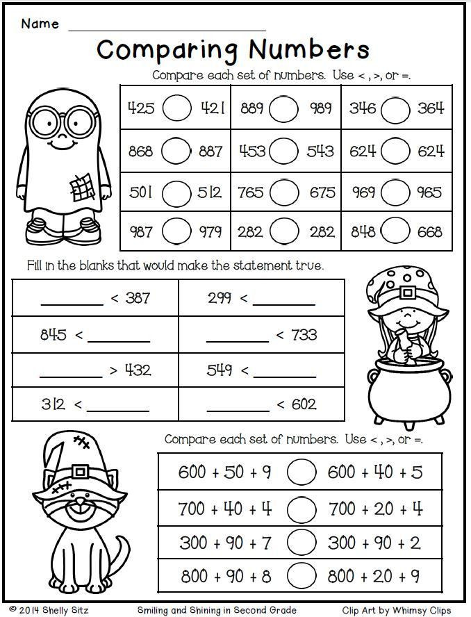 Comparing Numbers Worksheets 2nd Grade Halloween Math for Second Grade