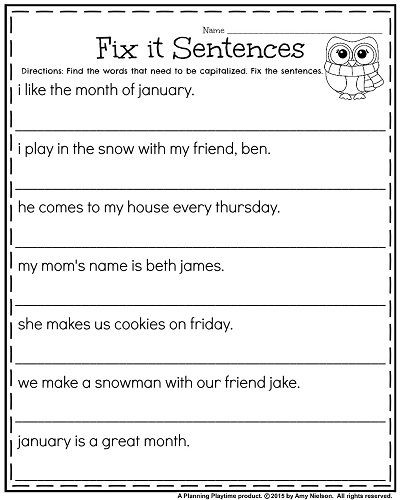 Complete Sentence Worksheets 1st Grade 1st Grade Worksheets for January