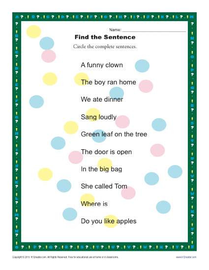 Complete Sentence Worksheets 1st Grade Find the Sentence