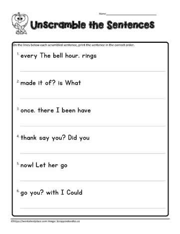 Complete Sentence Worksheets 1st Grade First Grade Scrambled Sentences Worksheets