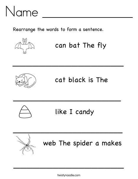 Complete Sentence Worksheets 1st Grade Rearrange the Words to Make A Sentence Twistynoodle