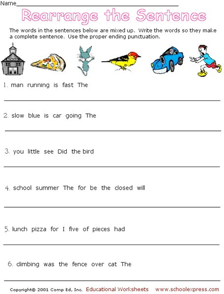 Complete Sentence Worksheets 3rd Grade Rearrange the Sentence Worksheet for 2nd 3rd Grade