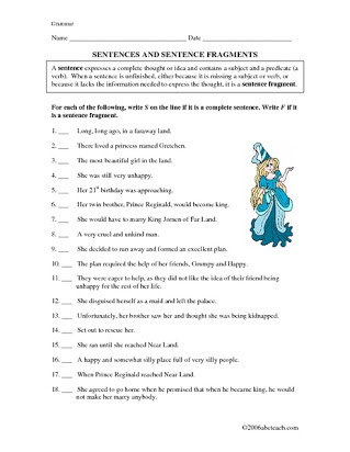 Complete Sentence Worksheets 4th Grade Free Printable Worksheets On Sentence Fragments
