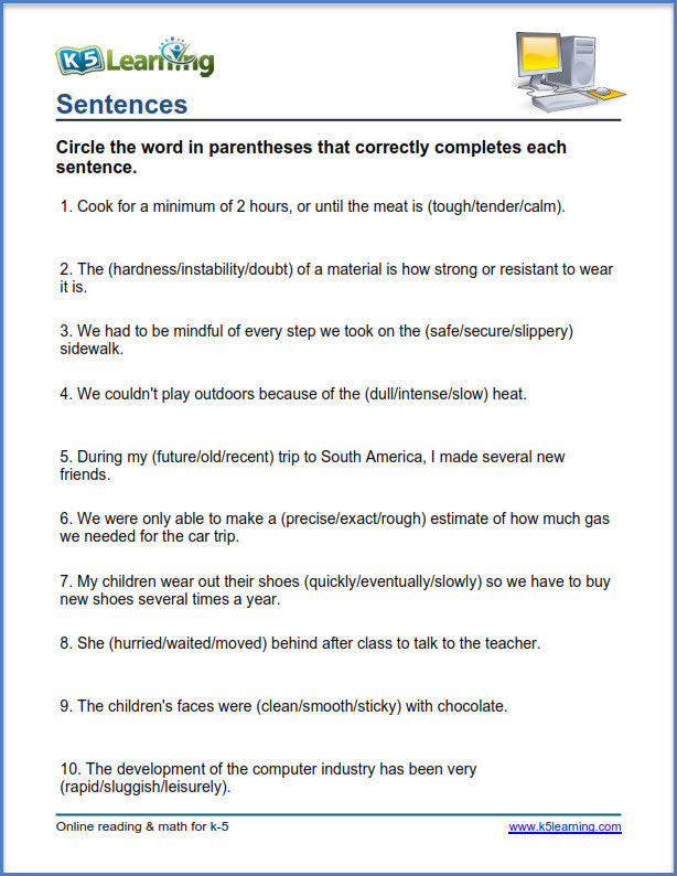 Complete Sentence Worksheets 4th Grade Grade 4 Vocabulary Worksheets – Printable and organized by