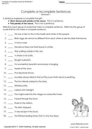 Complete Sentence Worksheets 4th Grade Plete or In Plete Sentences Worksheet 1