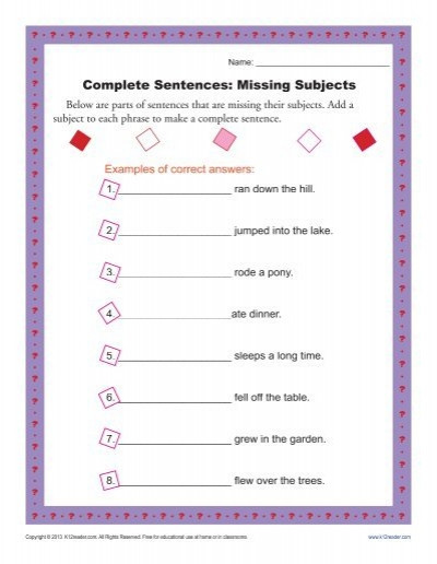 Complete Sentence Worksheets 4th Grade Plete Sentences Missing Subjects
