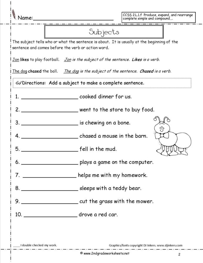 Complete Sentence Worksheets 4th Grade Second Grade Sentences Worksheets Ccss 3rd Sentence