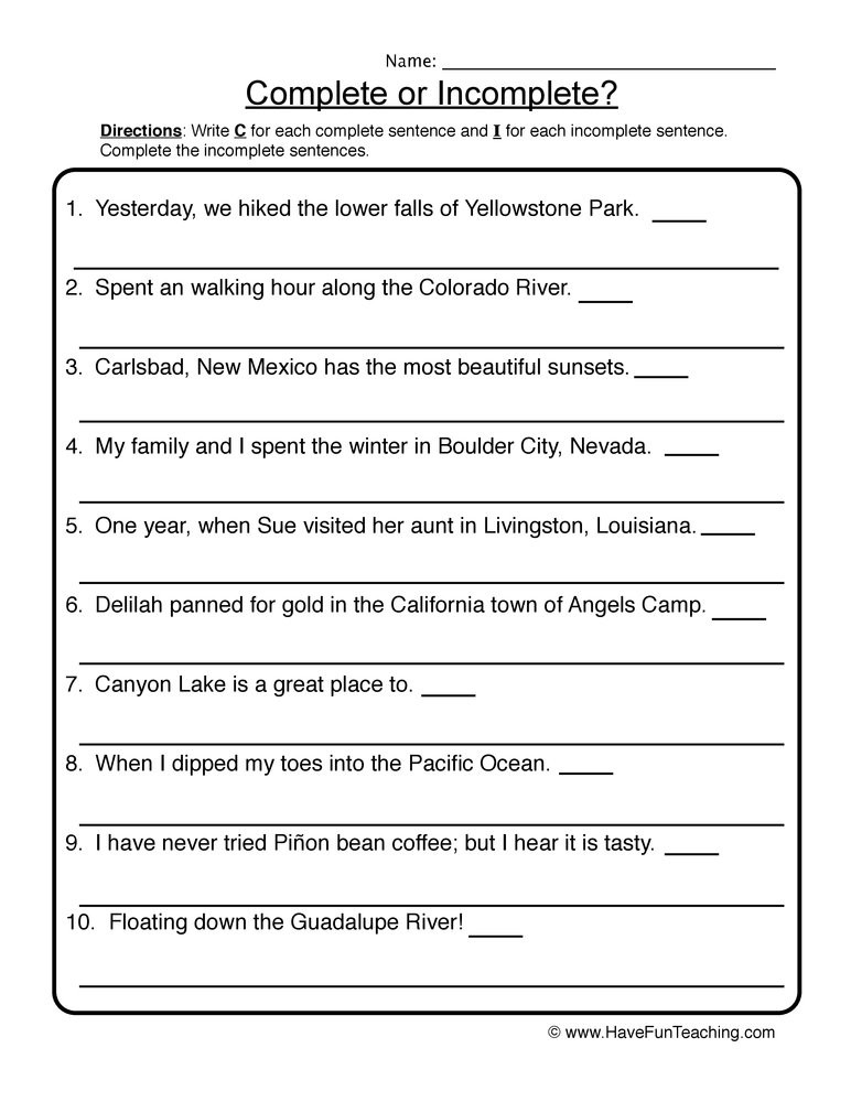 plete in plete sentences worksheet 1