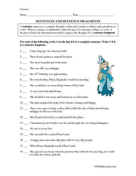 Complete Sentences Worksheet 4th Grade Sentences and Sentence Fragments 5th 7th Grade Worksheet