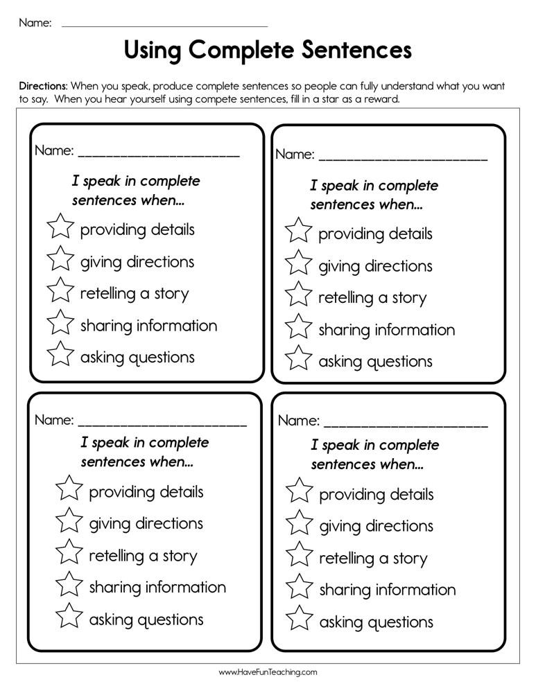 Complete Sentences Worksheet 4th Grade Using Plete Sentences Worksheet