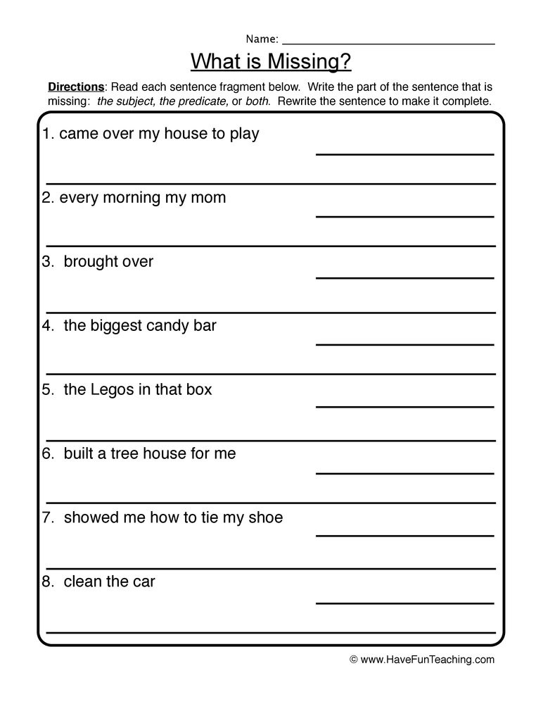 Complete Sentences Worksheet 4th Grade What is Missing Plete In Plete Sentences Worksheet