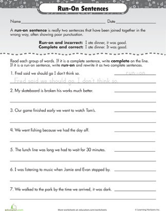 Complete Sentences Worksheets 3rd Grade Run On Sentences Worksheet