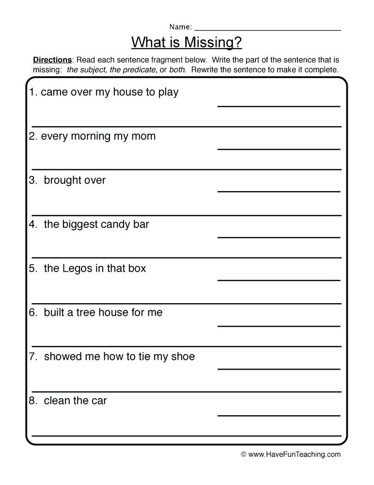 Complete Sentences Worksheets 3rd Grade Type Of Sentences Worksheets – Dailycrazynews