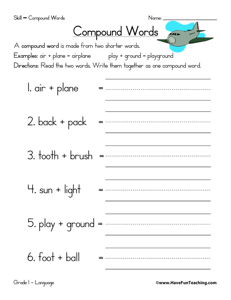 Compound Word Worksheet 2nd Grade Pound Words Equations Worksheet