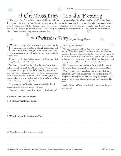 Comprehension Worksheets 6th Grade A Christmas Fairy Reading Prehension Worksheet
