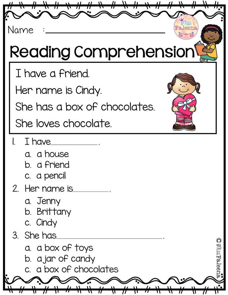 Comprehension Worksheets for Kindergarten February Reading Prehension ในปี 2020