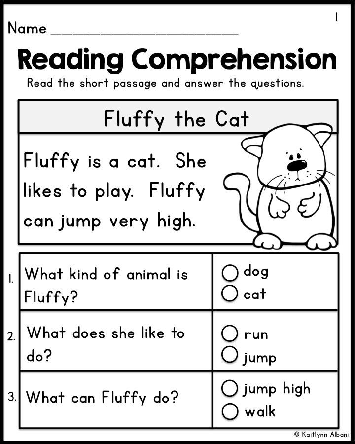 Comprehension Worksheets for Kindergarten Kindergarten Reading Prehension Passages Set 1 Freebie