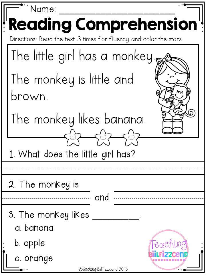 Comprehension Worksheets for Kindergarten Kindergarten Reading Prehension Set 1