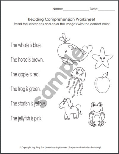 Comprehension Worksheets for Kindergarten Kindergarten Reading Prehension Worksheets Itsybitsyfun