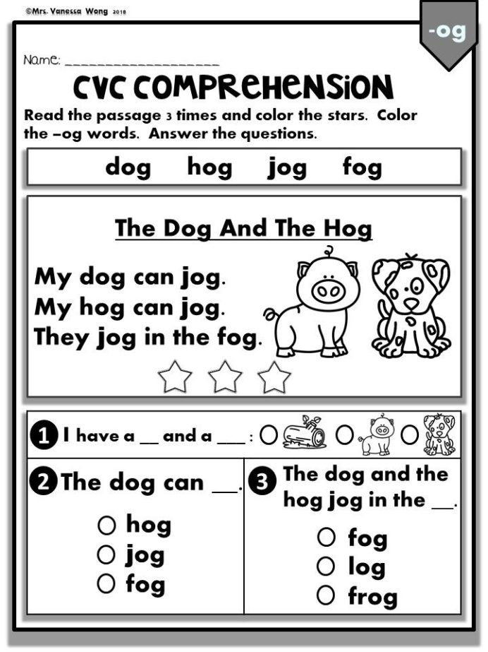 Comprehension Worksheets for Kindergarten Phonics Worksheets Cvc Prehension Readers Kindergarten