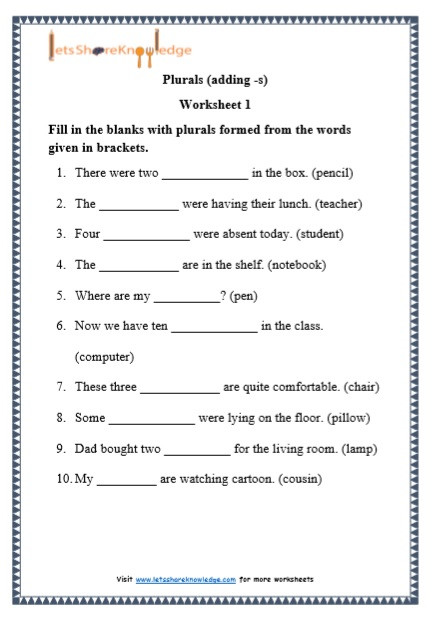 Computer Worksheets for Grade 1 Grade 1 Grammar Plurals Adding S Printable Worksheets
