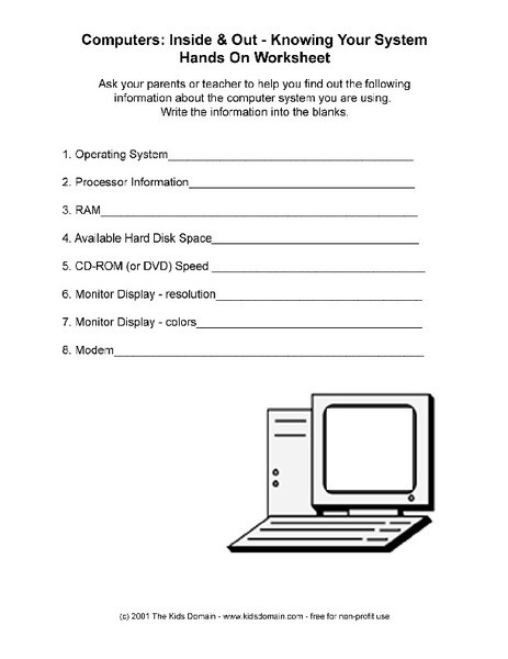 Computer Worksheets for Grade 1 Knowing Your Puter Worksheet for 6th 8th Grade