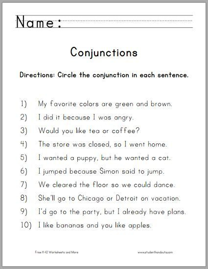 Conjunction Worksheet 3rd Grade Circle the Conjunctions Worksheet for Grade E Free to
