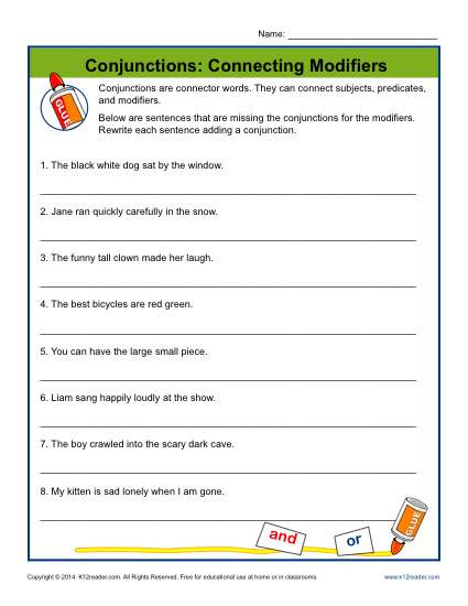 Conjunction Worksheet 3rd Grade Conjunctions Connecting Modifiers