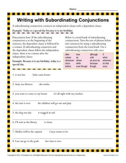 Conjunction Worksheet 3rd Grade Writing with Subordinating Conjunctions