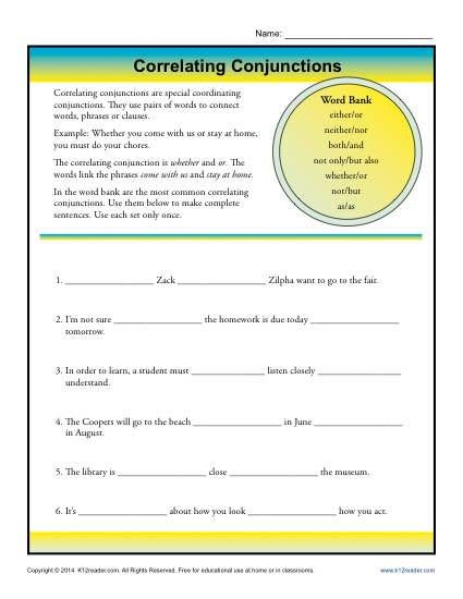 Conjunction Worksheet 5th Grade Correlative Conjunctions Worksheet