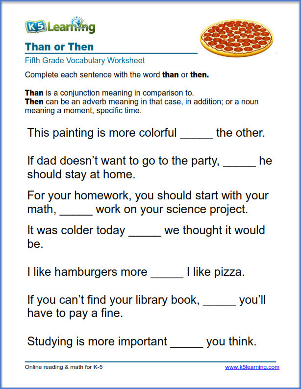 Conjunction Worksheet 5th Grade Grade 5 Vocabulary Worksheets – Printable and organized by
