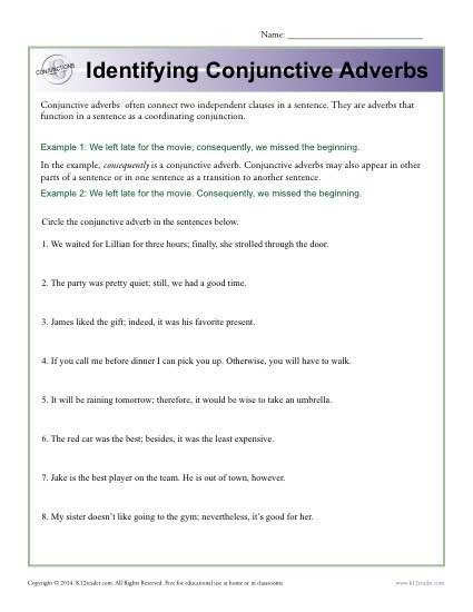 Conjunction Worksheet 5th Grade Identifying Conjunctive Adverbs