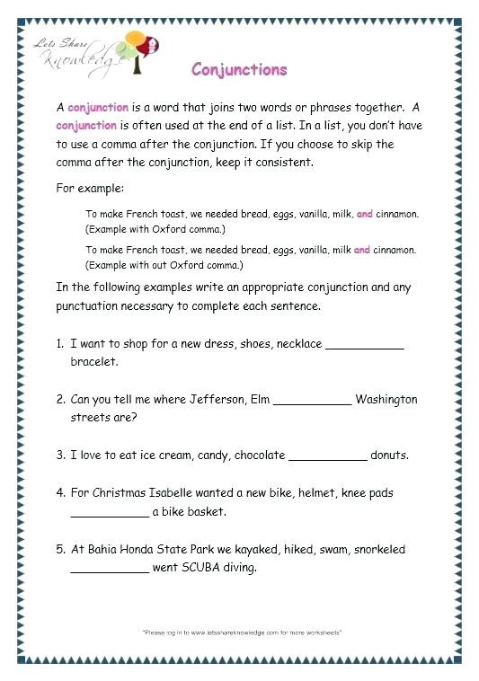 Conjunction Worksheet 5th Grade Worksheet Outstanding Free Printable Worksheets for Grade