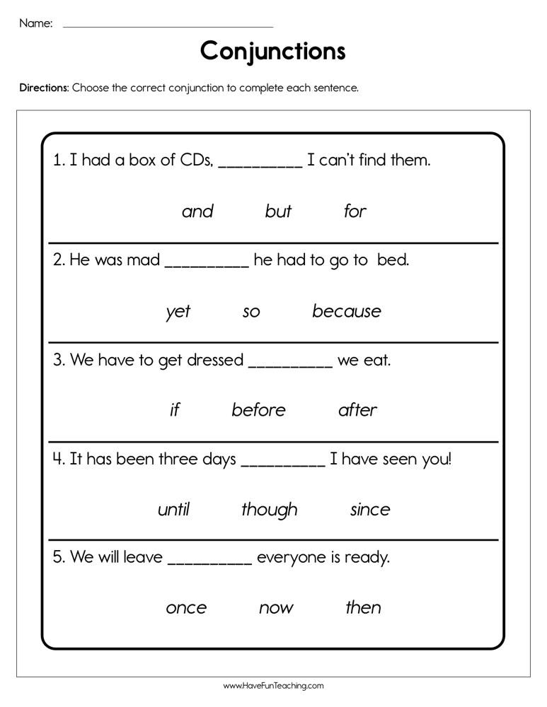 Conjunction Worksheets for Grade 3 Conjunctions Worksheet