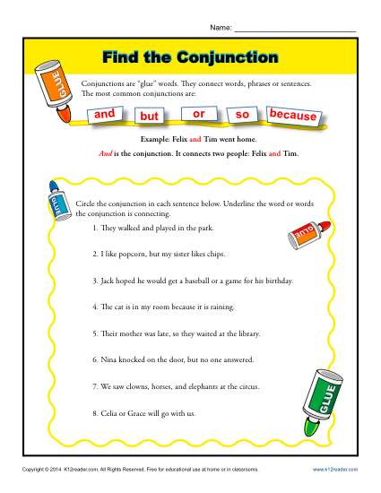 Conjunction Worksheets for Grade 3 Find the Conjunction