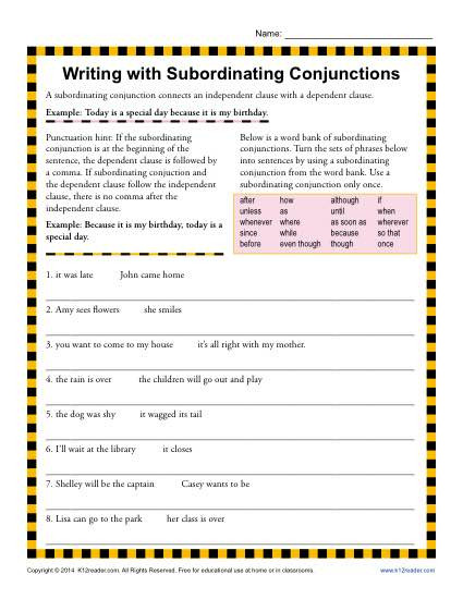 Conjunction Worksheets for Grade 3 Writing with Subordinating Conjunctions