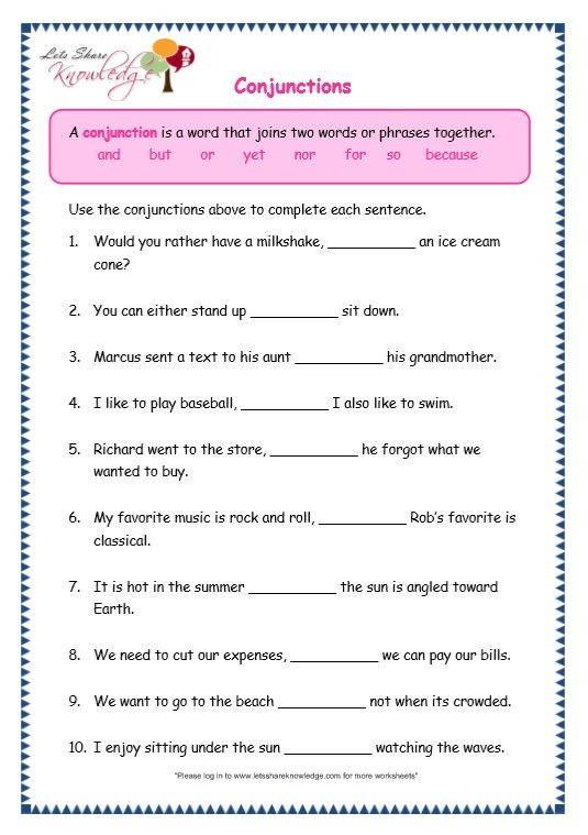 Conjunctions Worksheet 5th Grade Grade Grammar topic Conjunctions Worksheets with