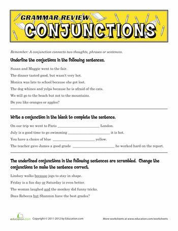 Conjunctions Worksheet 5th Grade Grammar Review Conjunctions