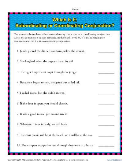 Conjunctions Worksheets 5th Grade Subordinating or Coordinating Conjunctions