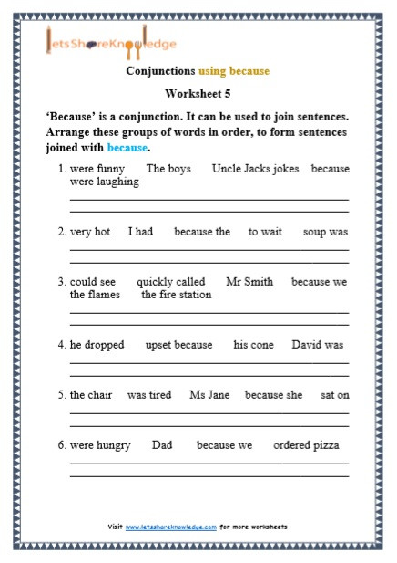 Conjunctions Worksheets for Grade 3 Grade 1 Grammar Conjunctions Using because Printable