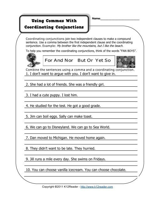 Conjunctions Worksheets for Grade 3 Using A Ma with Coordinating Conjunctions