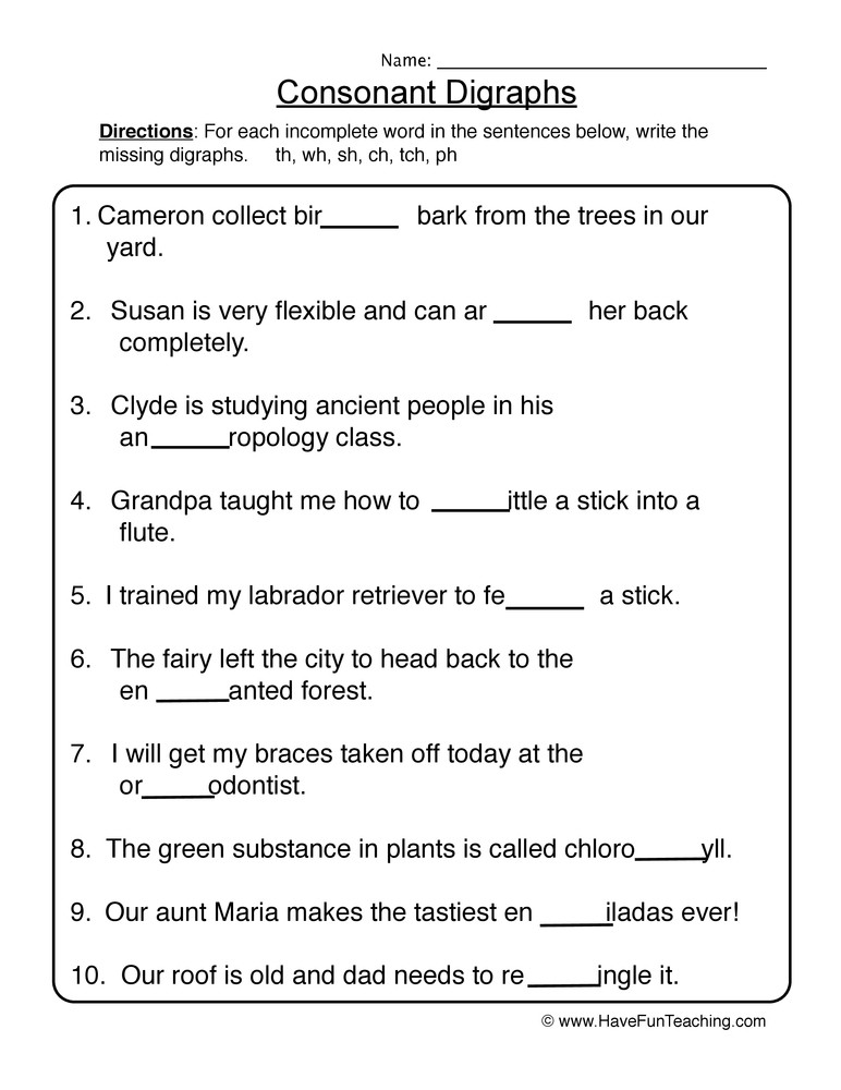 Consonant Blends Worksheets 3rd Grade Consonant Digraph Worksheets