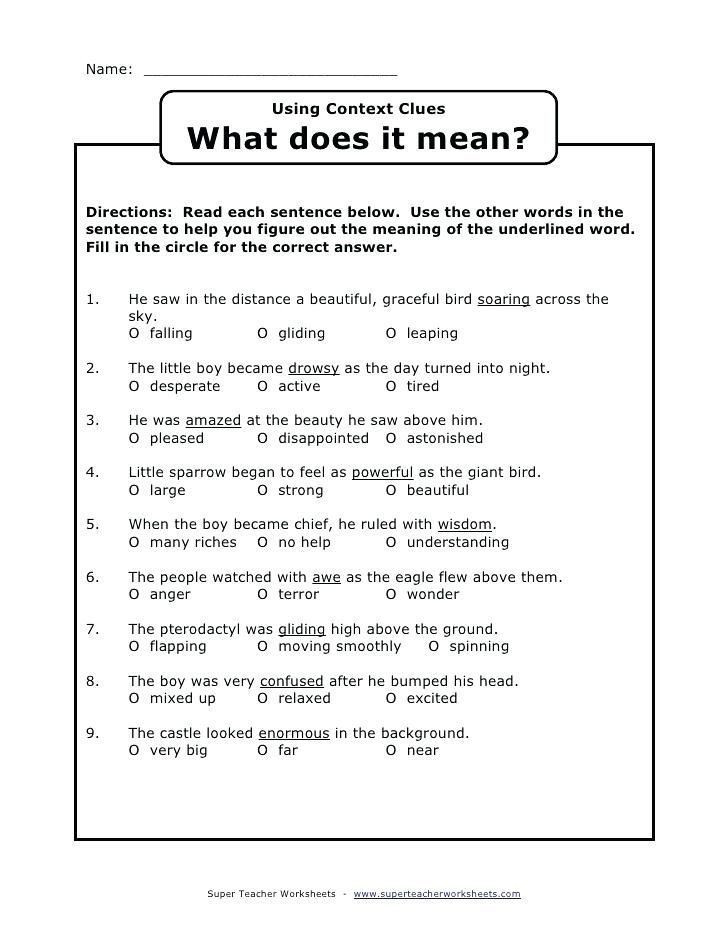 Context Clues 5th Grade Worksheets 29 Context Clues Worksheets Pdf In 2020