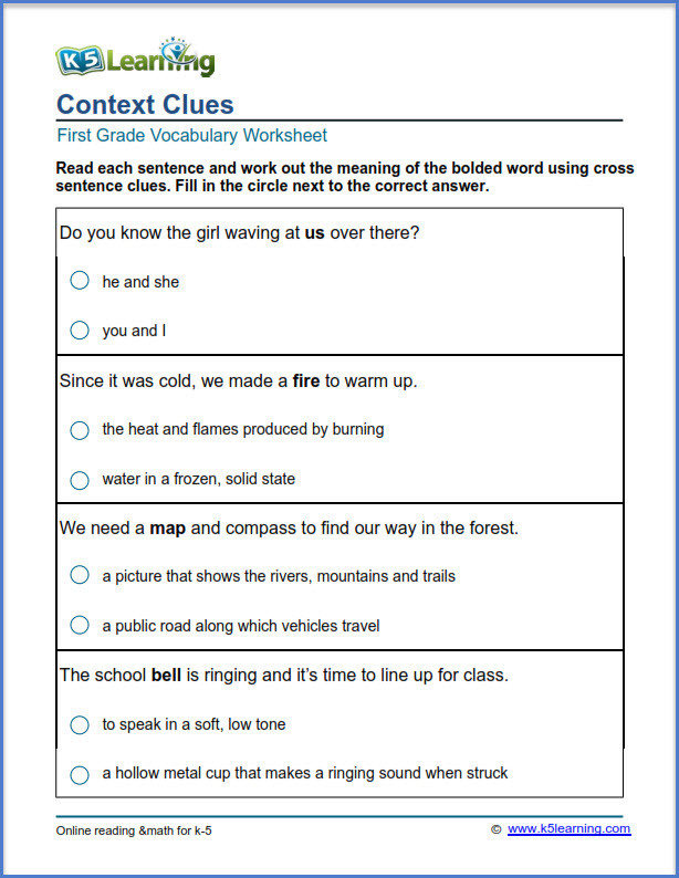 Context Clues Worksheets 1st Grade First Grade Vocabulary Worksheets – Printable and organized