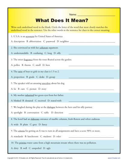 Context Clues Worksheets 1st Grade What Does It Mean
