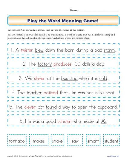 Context Clues Worksheets Second Grade Play the Word Meaning Game