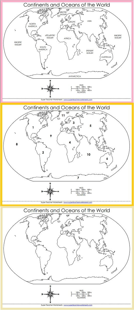 Continents and Oceans Printable Worksheets Printable World Maps