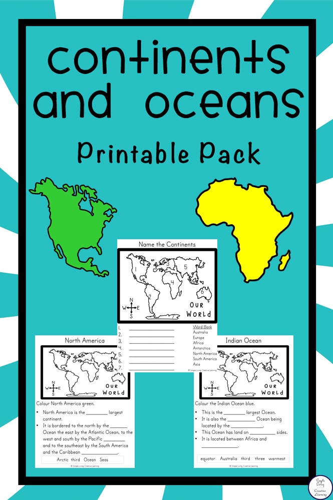 Continents and Oceans Worksheet Printable Free Continents and Oceans Printable Pack Simple Living