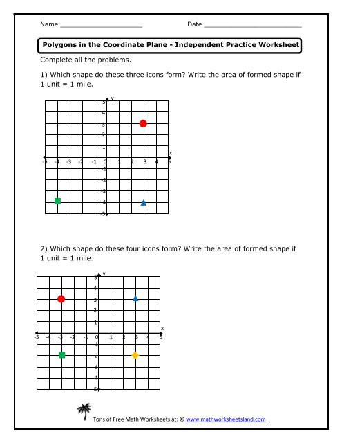 Coordinate Grid Worksheets 6th Grade Polygons In the Coordinate Plane Independent Practice Worksheet
