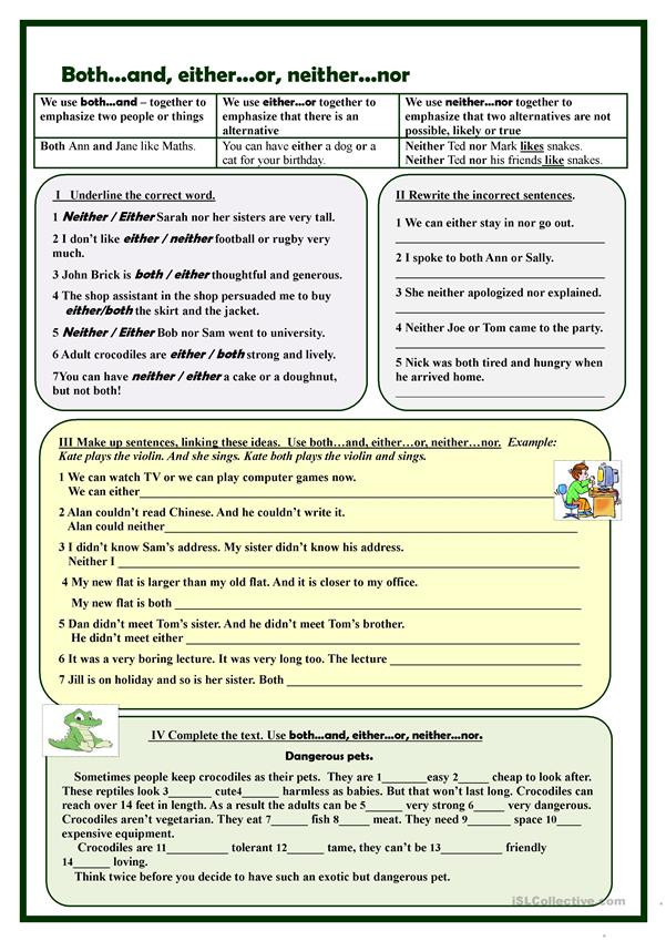 Correlative Conjunctions Worksheet 5th Grade Both D Either or Neither nor Exercises